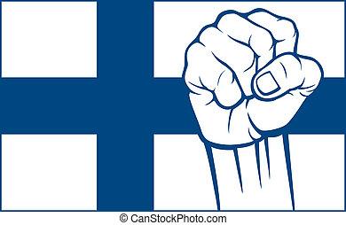 finlande, finland), poing, (flag