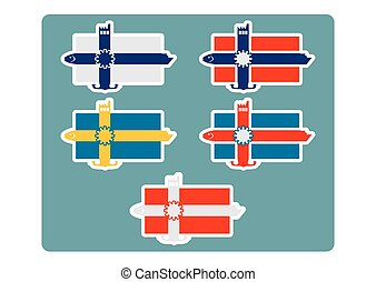 finlande, norvège, icônes, islande, national, danemark, drapeau, suède