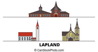 finlande, plat, illustration., ville, repères, laponie, ...