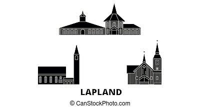 finlande, plat, ville, voyage, laponie, landmarks., symbole...