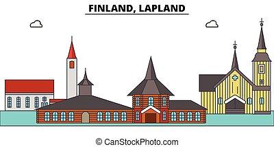 finlande, ville, lapland., paysage, panorama, bâtiments, ...