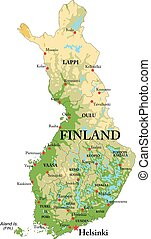 finlandia, mapa, físico