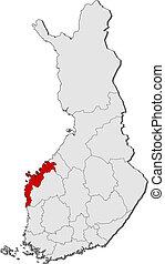 finlandia, mapa, ostrobothnia, highlighted