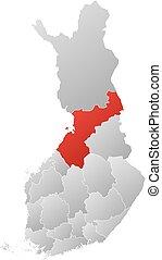 finlandia, mapa, ostrobothnia, -, północny