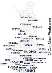 finlandia, słowo, chmura, mapa
