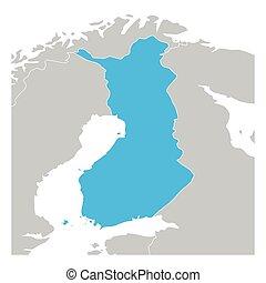 finlandia, zielona mapa, highlighted, kraje, sąsiad