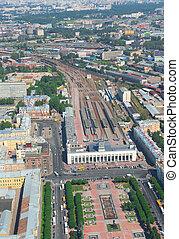 Birdseye view of Finlandsky railway station in Saint Petersburg, Russia