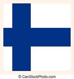 Finn square flag button, social media communication sign,...