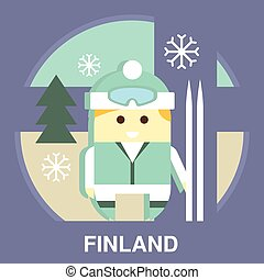 Finn with Ski Vector Illustration - Traditional Finland...