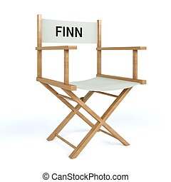 Finn written on director chair on isolated white background...