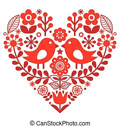 finnisch, valentines, muster, inspiriert, -, vögel, blumen,...