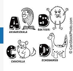 Finnish alphabet. Aquarium fish, bacteria, chinchilla,...