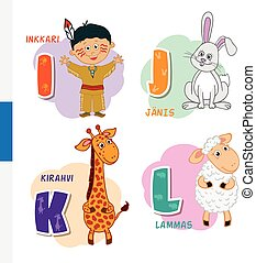 Finnish alphabet. Native American, Rabbit, Giraffe, Sheep....