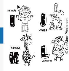 Finnish alphabet. Native American, Rabbit, Giraffe, Sheep....