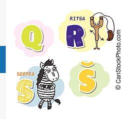 Finnish alphabet. Slingshot, Zebra. Vector letters and...