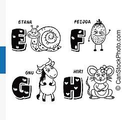 Finnish alphabet. Snail, feijoa, wildebeest, mouse. Vector...