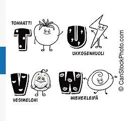Finnish alphabet. Tomato, Lightning, Watermelon, Viennese....