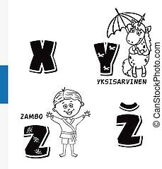 Finnish alphabet. Unicorn, Sambo. Vector letters and...