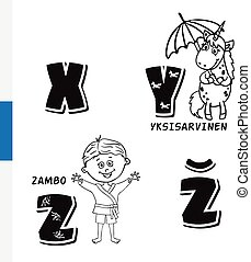 Finnish alphabet. Unicorn, Sambo. Vector letters and...