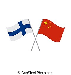 Finnish and Chinese flags vector isolated on white background