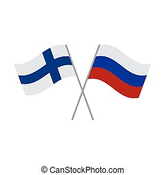 Finnish and Russian flags vector isolated on white background