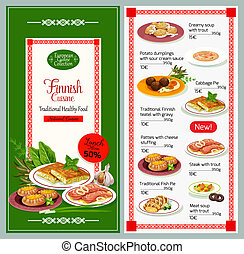 Finnish cuisine dishes vector menu - Finnish cuisine...