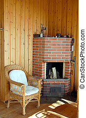 Fireplace in a Finnish cottage