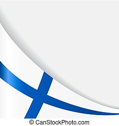 Finnish flag wavy abstract background. Vector illustration.