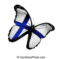 Finnish flag butterfly flying, isolated on white background