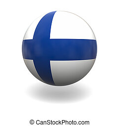 Finnish flag - National flag of Finland on sphere isolated...