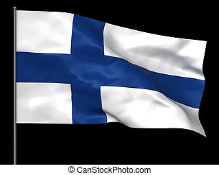 Finnish flag - Waving Finnish flag isolated over black...