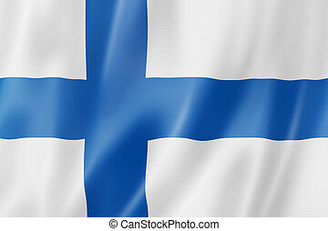 Finnish flag - Finland flag, three dimensional render, satin...