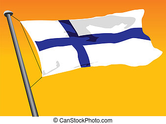 Finnish flag - vector flag of Finland
