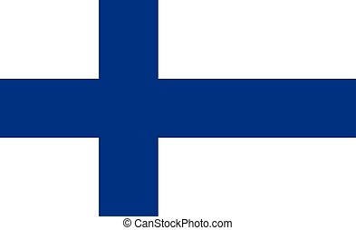 Flag design. Finnish flag on the white background, isolated flat layout for your designs. Vector illustration.