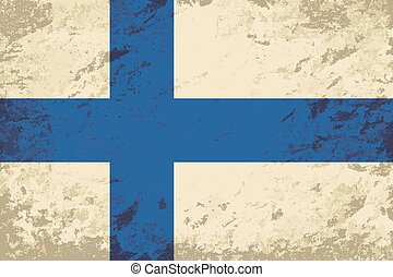 Finnish flag Grunge background. Vector illustration Eps 8.