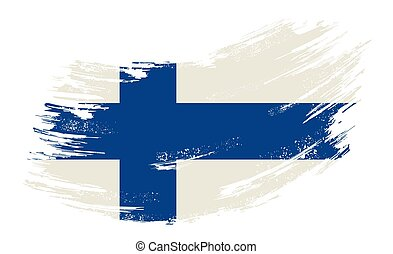 Finnish flag grunge brush background. Vector illustration.