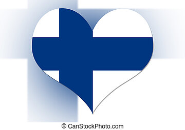 Finnish Flag heart - Finnish Flag in the shape of a heart