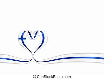 Finnish flag heart-shaped wavy ribbon. Vector illustration.