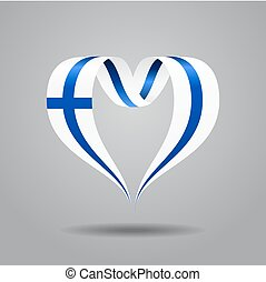 Finnish flag heart-shaped ribbon. Vector illustration. -...