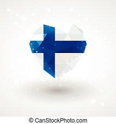 Finnish flag in shape diamond glass heart. Triangulation style