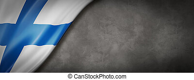 Finnish flag on concrete wall banner