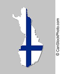 Finnish flag on the map. High detailed map with flag inside. European country borders vector illustration on light gray background