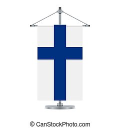 Flag design. Finnish flag on the metallic cross pole. Isolated template for your designs. Vector illustration.