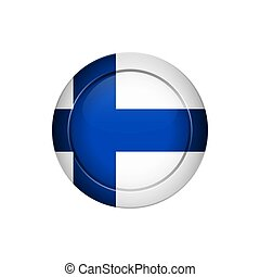 Flag design. Finnish flag on the round button. Isolated template for your designs. Vector illustration.