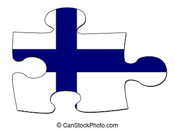 Finnish flag puzzle - A puzzle piece in the shape of the...