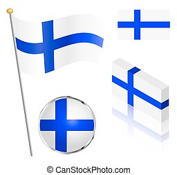 Finnish Flag Set - Finnish flag on a pole, badge and...