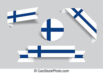 Finnish flag stickers and labels set. Vector illustration.