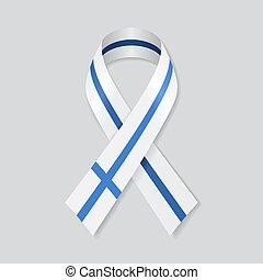 Finnish flag stripe ribbon on white background. Vector.