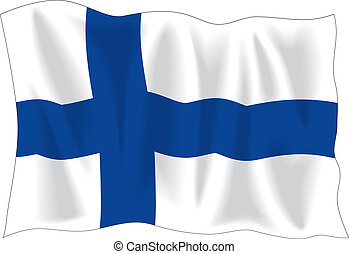 Finnish flag - Waving flag of Finland isolated on white