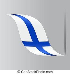 Finnish flag wavy abstract background. Vector illustration...